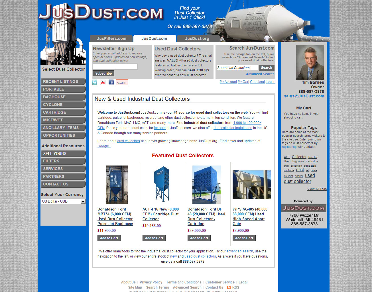 JusDust / JusFilters Manufacturing B2B Magento Ecommerce