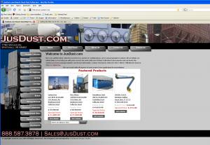 Screenshot of JusDust.com Bridge Road Marketing's First Magento Site.